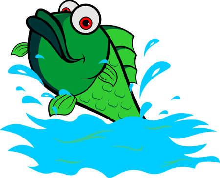 sea water: logo green fish jump on sea water Illustration