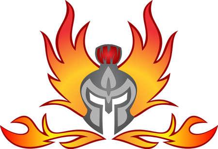 quemadura: casco espartano llameante quemadura