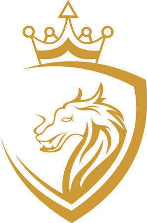 dragon king protection logo Stock Illustratie