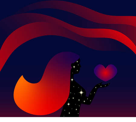 Female silhouette. Young woman holding a heart in her hand. Vector illustration with abstract gradient background