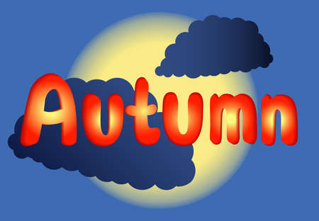 Hello, Autumn. Vector illustration. Sun is hiding behind the clouds. Text Autumn on blue background. Cloudy cold weather