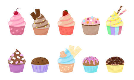 Cupcakes and muffins set isolated on white background. Sweet desserts collection. Vector illustration.