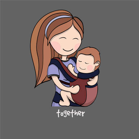 Happy cartoon characters, mother carrying a child using a handy device baby carrier, baby wearing and attachment parenting concept
