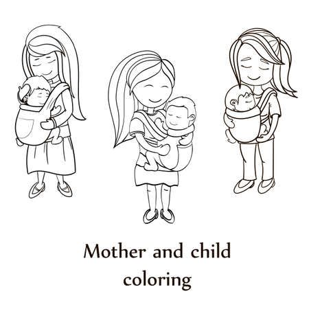 mother love: Happy cartoon characters, mother carrying a child using a handy device baby carrier, baby wearing and attachment parenting concept. coloring book set. line black and white artwork Illustration