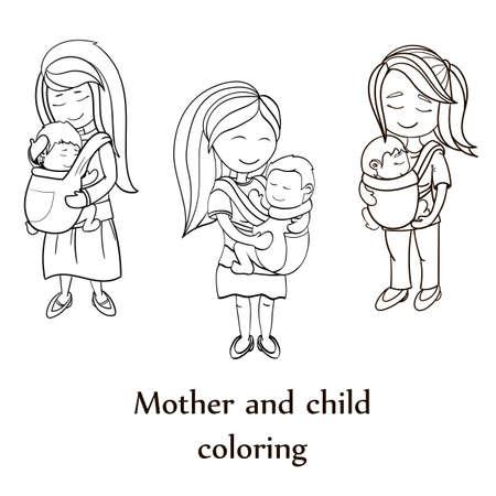 Personajes De Dibujos Animados Feliz, Madre Con Un Niño Usando Una ...