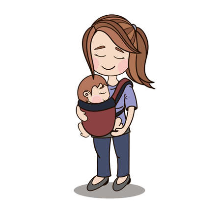 parenting: Happy cartoon characters, mother carrying a child using a handy device baby carrier, baby wearing and attachment parenting concept Illustration