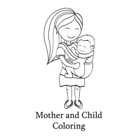sling: Happy cartoon characters, mother carrying a child using a handy baby carrier, baby wearing and attachment parenting concept. coloring book illustration. line black and white artwork
