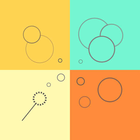 soap sud: Flat line icons of soap bubbles on a colorful background. Soap sud line illustration.