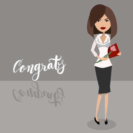 cartoen character design of a secretary lady, businesswoman, boss, office worker. Congratulations with the secretary day holiday
