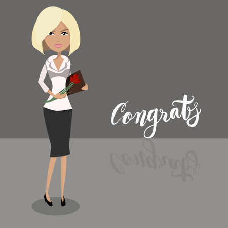 Cartoon secretary blonde female character. Attractive businesswoman character design. Office worker, boss or assistant receiving congratulations and holding flowers