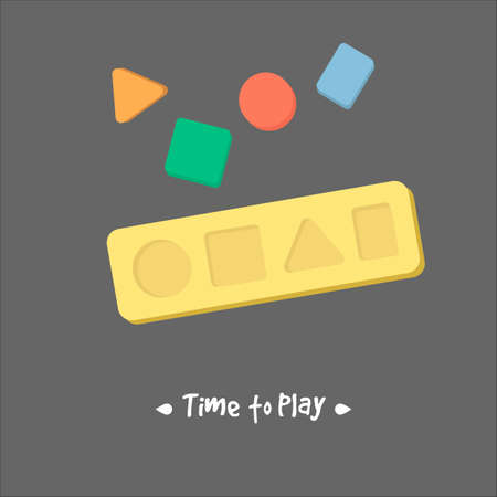 toddlers: Shape sorter toy for babies, concept of developing fine motor skills, learning shapes and colors, educational toy for babies, toddlers and kids Illustration