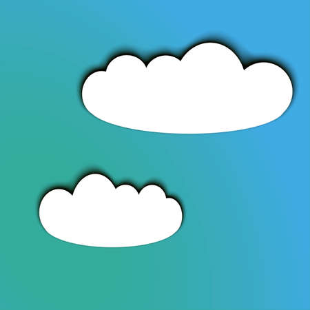 white clouds: Paper cut looking white clouds with a shadow on a pretty blue sky. volume effect. Suitable for web, icon, poster, background design. Illustration