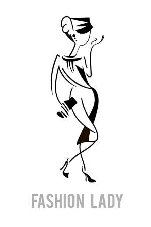 high fashion model: Elegant fashion model lady walking on high heels and holding a clutch. line art illustration. Perfect for a fashion design poster, business card and apparel design.