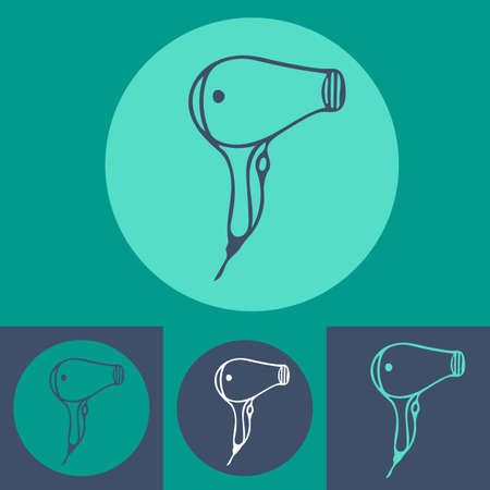 hair do: Hair dryer icon set on blue background. line art icon for hairdressers, hair styling, beauty salon.