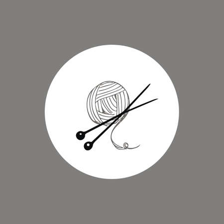 skein: Knitting yarn skein and needles icon  design . hand drawn line art. Perfect for handmade shops, business cards, branding. Illustration