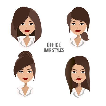 set van kapsels en kapsels voor office vrouwelijke werknemers. Vriendelijke, positieve, mooie brunette bureau vrouwelijk personage design. Zakelijke vrouw, werkgever, medewerker, secretaresse, manager, personeel