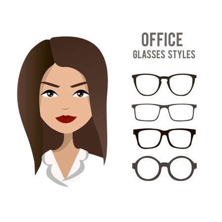girl wearing glasses: Office glasses styles vector template with an office woman character design. Beautiful girl wearing official clothes and hair style, a model for trying on glasses