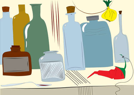Hand-drawn illustration of bottles, jars one yellow onion and red chili pepper. Çizim