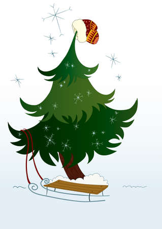 Illustration of cute Christmas tree with mitten on the top.