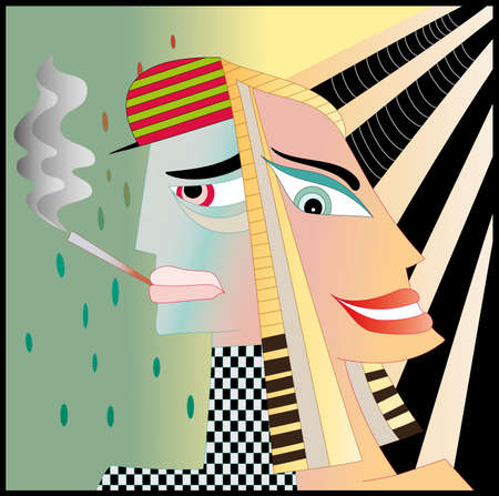 happy couple: Illustration of a woman and a man with cigarette  Illustration