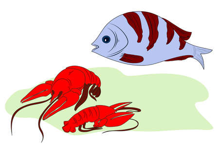 Illustration of two lobsters ans a fish.