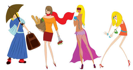 busty: Illustration of four different cartoon characters. Illustration