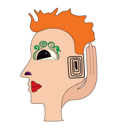 Illustration of a abstract face with spiral ear.
