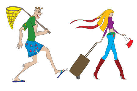Illustration of a man with butterfly net chasing a young blond woman with luggage