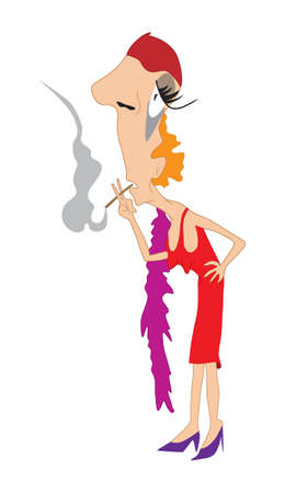Illustration of an old lady with cigarette on high-heels