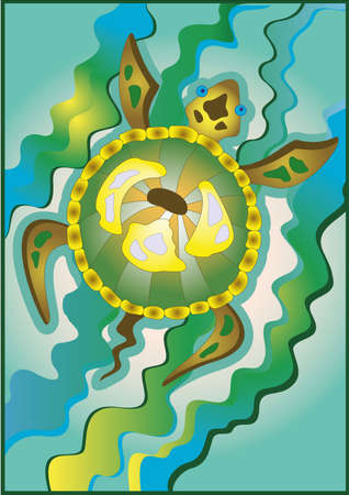 Abstract vector illustration of a sea turtle. Vectores