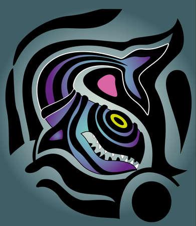 바다 물고기의 추상 그림