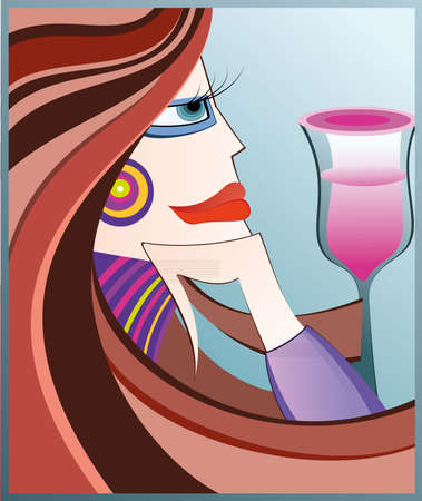 Abstract  illustration of a woman with glass of wine Stock Vector - 7491303