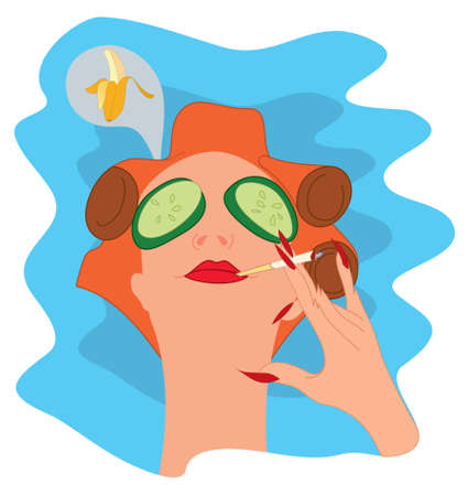 nails: Illustration of relaxing woman with cucumbers on her eyes Illustration
