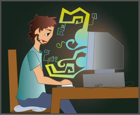 Illustration of a IT engineer  working in the night Ilustração