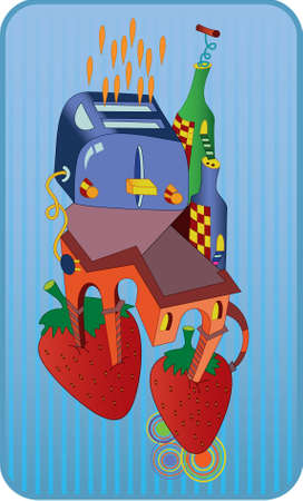 Abstract illustration of a toaster , bottles , strawberries , house.