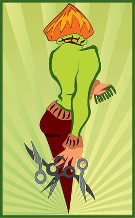 Illustration einer Frau mit einer Schere in der hand Standard-Bild - 7491310