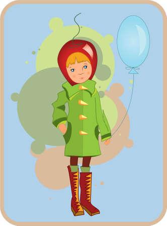 Illustratie van een kind in groene jas met een lucht ballon in zijn hand  Stockfoto - 7491314