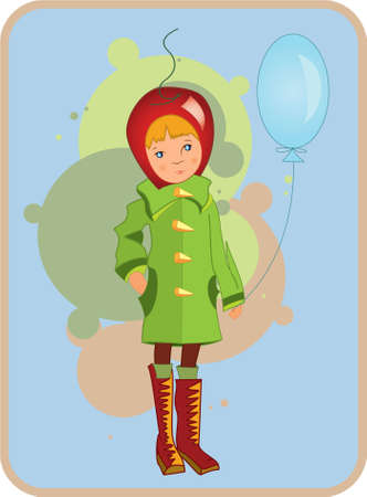 Illustration of  a child in green coat with air balloon in his hand