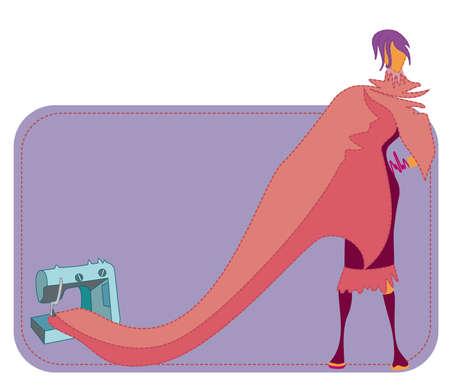 costurera: Silueta de mujer con vestido largo que sale de la m�quina de coser