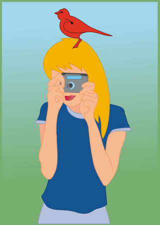 no photo: Girl with camera in her hands and red bird on her head