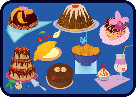 Icon set of fancy cakes , croissant, cookies and dessert Vector