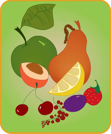 Illustration of apple ,pea , peach , cherries , drapes and strawberry  Illustration