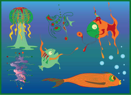 Extinct fishes and jellyfish swimming deep underwater  Vector
