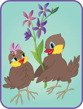 animalitos tiernos: Dos dibujos animados de aves con flores en una fecha