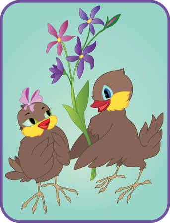 Two cartoon birds with flowers on a date Illustration