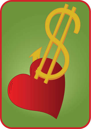fishhook: Heart on a hook of dollar sign on green background