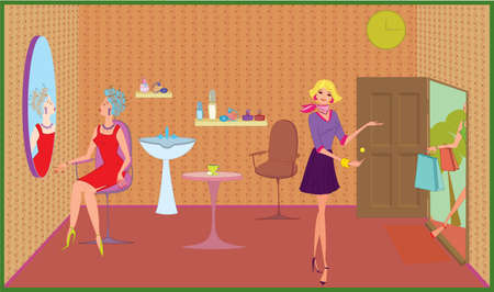 Beauty salon girl greeting new customer near the door Vector