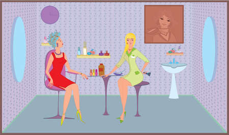 Beauty salon worker girl with brush and her client  イラスト・ベクター素材