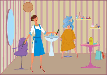 Beauty salon worker girl with scissors and her client Illustration