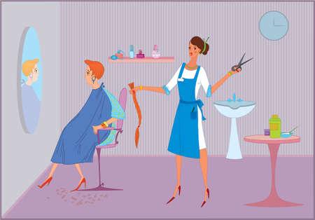 뷰티 살롱 작업자 소녀 그녀의 클라이언트에 이발을하고 일러스트
